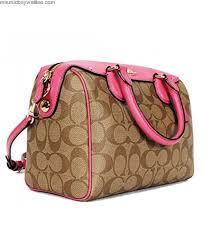 ... New Authentic COACH Signature Small Mini Bennett Khaki Dahlia Pink  Satchel Crossbody Bag bags-