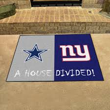 nfl house divided rivalry rug dallas cowboys new york giants