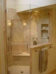 Bathroom Design Corner Shower Stall Kits With Seat And Wall Mounted