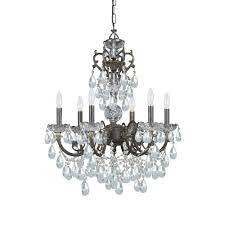 6 light english bronze crystal chandelier dd in clear hand cut crystal