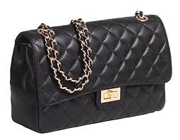 Italian Leather Quilted Designer Inspired Handbag with Gold Trims ... & Italian Leather Quilted Designer Inspired Handbag with Gold Trims (Black) Adamdwight.com