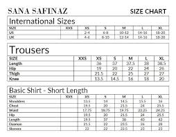 Size Chart Sana Safinaz Studio By Tcs