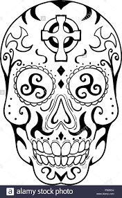 Tattoo Style Illustration Of Mexican Skull Or Calavera A Human