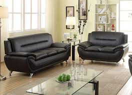 norton 2 pc black faux leather modern living room sofa and loveseat set com