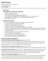 College Resume Examples For High School Seniors Resume Templates