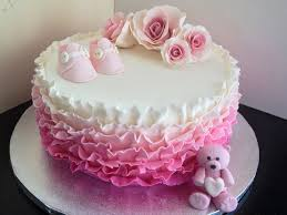Beautiful Single Tier Pink Ruffle Baby Shower Cake With Booties