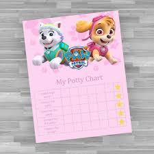 Potty Training Chart Printable Paw Patrol Printable Potty Chart Nick Jr Paw Patrol Training Chart Skye And Everest Character Reward And Incentive Print