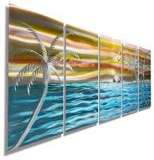 island beach tropical metal wall art colorful metal beach scene painting art