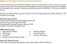 list of courses vocational rsa academy aqa level 3 foundation technical in it cyber