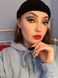 maisie shows off her flare for arresting make up looks showcasing her exaggerated cat