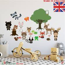 details about woodland wall stickers nursery art animal tree fox and friends boy girl baby uk