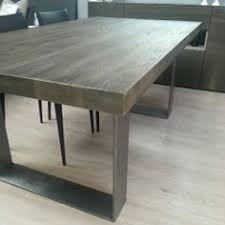 gray wood dining table. Modena Wood \u0026 Metal Dining Table, Industrial Gray Table