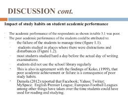 study habits 26 discussion cont impact of study habits
