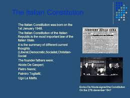 Image result for confirmed by the Italian constitution of 1948.