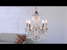 for distressed silver five light mini chandelier