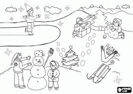 Winterlandschap Met Kinderen Kleurplaat Kleurplaten Coloring