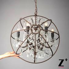 crystal orb chandelier industrial lighting restoration hardware