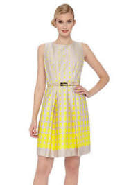 Details About Tahari By Asl Sleeveless Dot Print Belted Dress Spring Summer Tan Yellow Sze 10