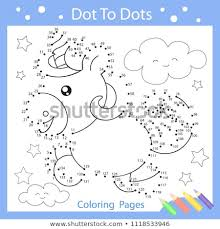 worksheets dot to dots with drawn the funny unicorn children funny drawn riddle coloring page for kids drawing lesson activity art game with cute horse