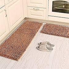 kooco soft microfiber anti slip floor mat chenille rug bathroom rug set washable kitchen rug