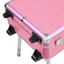 uk middot rolling studio makeup artist cosmetic case w light leg mirror pink train table
