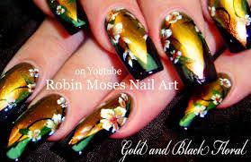 Black and Gold Flower Nail Art Design   Designer Floral Nails ...