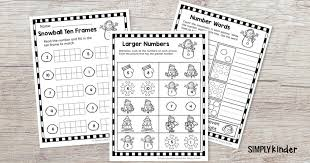 Easy Winter Math Sheets for Kindergarten (free printable) - Simply ...
