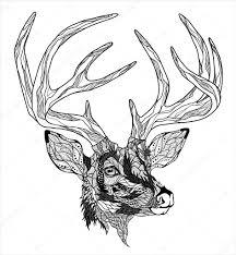 голова оленя тату олень голову тату векторное изображение