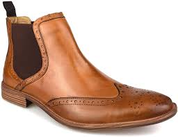 These timeless boots match effortlessly with any outfit, making them the perfect companion for winter walks with the family or a. Premium Mens Tan Leather Brogue Chelsea Boots Amazon Co Uk Shoes Bags