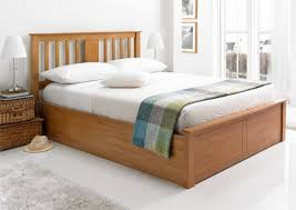 Ottoman For Bedroom Malmo Oak Finish Wooden Ottoman Storage Bed Light Wood Wooden