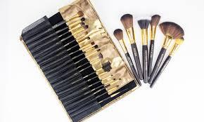 beaute basics makeup brush set with faux reptile wrap 24 piece copper pro makeup tool kit 24 piece copper pro makeup tool kit 510 10pc