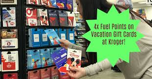 from june 26th july 9th you can earn 4x fuel points on vacation gift cards at kroger you ll need to the coupon here for fuel points to be