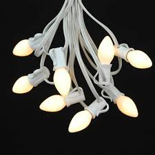 Picture of 25 Light String Set with White Ceramic C7 Bulbs on White Wire