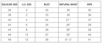 Tailored Sportsman Size Chart Equiline Us Apparel Size Guide Equiline America