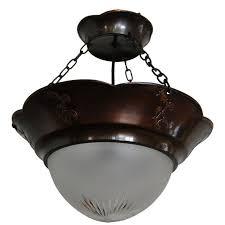 swedish jugend arts and crafts copper pendant chandelier for