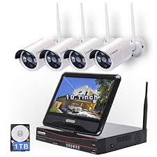 All in one with Monitor Wireless Security Camera System Home WiFi CCTV 4CH 1080P NVR Kit 4pcs 960P Indoor Outdoor Bullet IP P2P IR Night Vision Amazon.com :