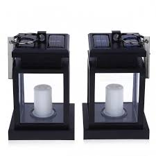 traditional design solar powered led outdoor candle lantern outdoor hang lamp home garden decoration light warm white 2pcs black warm white