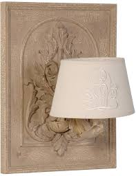 french stately shabby chic wall lamp cream linen shade