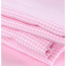 gingham flat sheet pink cot