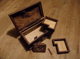 a very interesting wooden locking mechanism on this solid wood jewelry box