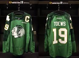 flyers green jersey blackhawks will warm up in st patricks day green jerseys on
