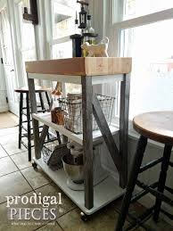 butcher block kitchen cart diy build with reclaimed pieces by larissa of prodigal pieces prodigalpieces