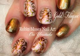 Elegant Gold Nails | Easy Glitter Filigree Nail Art Design ...