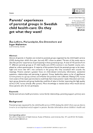 Jchc My Chart Pdf Parents Experiences Of Parental Groups In Swedish