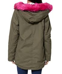 womens long hood pink faux fur padded khaki