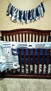 moose baby bedding moose sheets baby boy crib bedding navy gray arrow bear patchwork print and