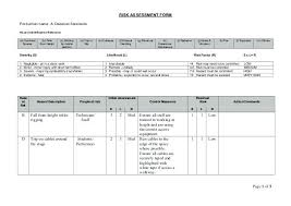 Risk Assessment Form Production Name A Classical Serenade Hazard ...