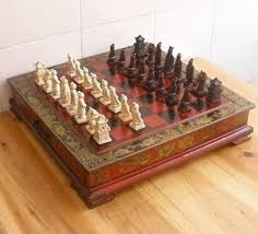 Wooden Box Board Games Chinese Chess Set Leather Wood Box Flower Bird Table No Board 64