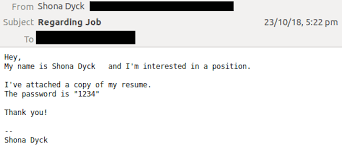 Cleverly Disguised Job Application Email Downloads
