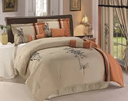 com chezmoi collection 7 piece kariya embroidery bamboo comforter set full rust light taupe home kitchen